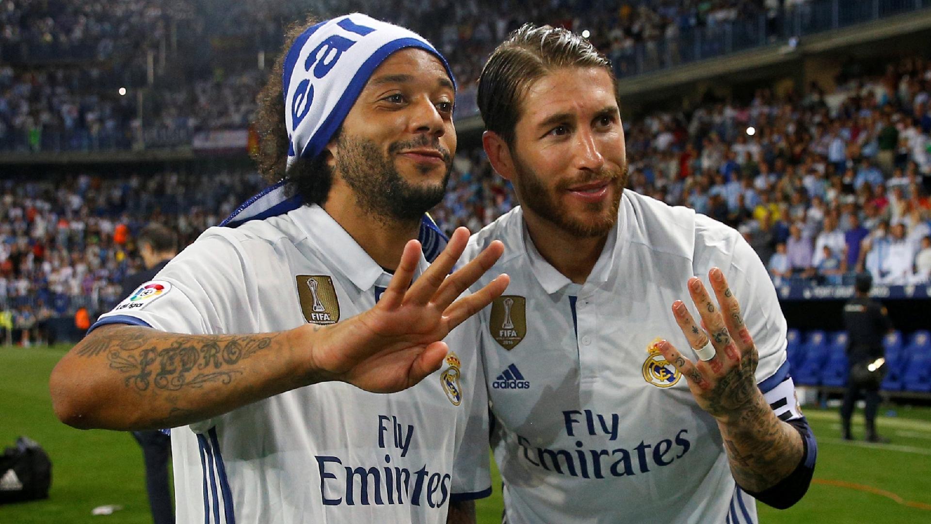 Marcelo e Sergio Ramos comemoram título espanhol do Real Madrid