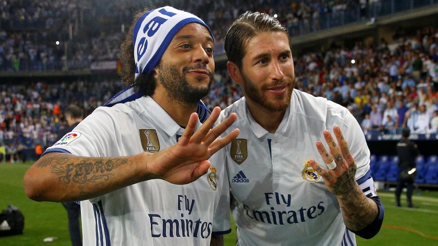 Marcelo e Sergio Ramos comemoram título espanhol do Real Madrid - Reuters / Juan Medina