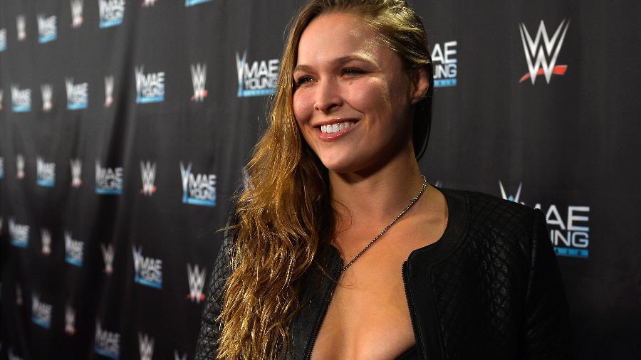 A lutadora norte-americana Ronda Rousey em evento do WWE - Bryan Steffy/Getty Images for WWE