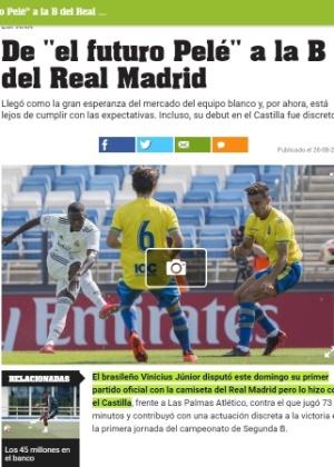 Olé não aliviou na avaliação de estreia de atacante brasileiro pelo Real Madrid Castilla - Reprodução