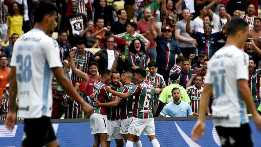 Jogadores do Fluminense comemoram gol contra o Grêmio, pelo Campeonato Brasileiro -  MAILSON SANTANA/FLUMINENSE FC