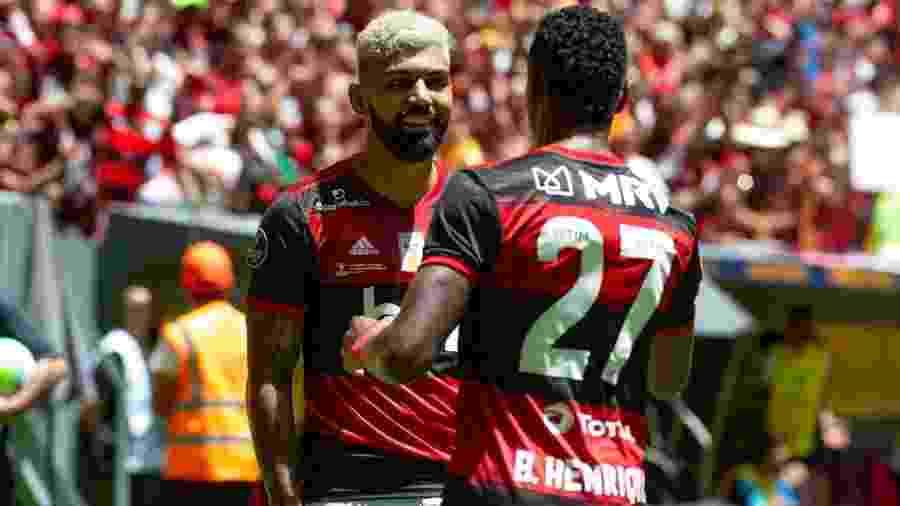 Flamengo de Gabigol (de frente) e Bruno Henrique (27) decide a Recopa Sul-Americana nos dias 19 e 26 de fevereiro - Alexandre Vidal/Flamengo