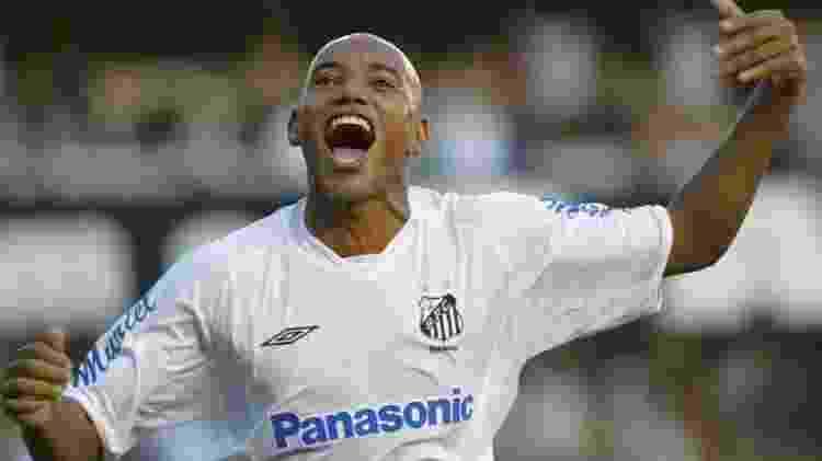 Luiz Alberto comemora gol durante sua passagem pelo Santos em 2005 - Santos FC - Santos FC