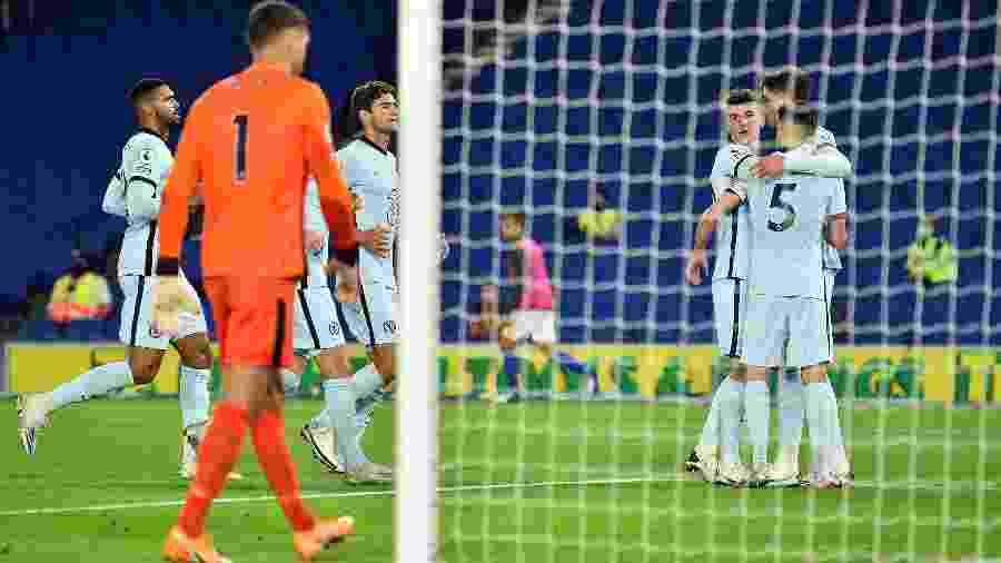 Jorginho, Reece James e Zouma fizeram os gols do time londrino - Glyn Kirk/Pool/AFP