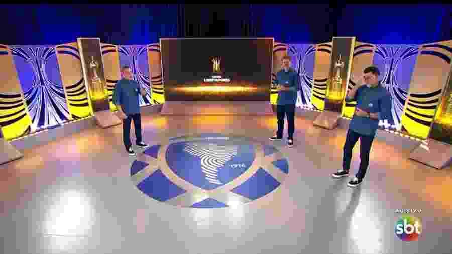 Transmissão do SBT com Téo José, Ricardo Rocha e Mauro Beting - Reprodução
