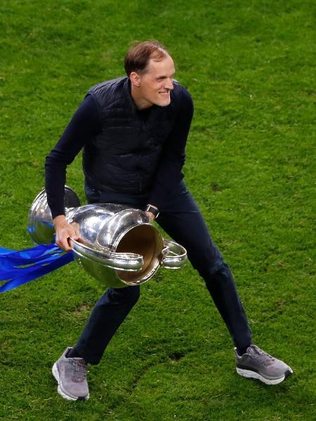 Thomas Tuchel, técnico do Chelsea, comemora conquista da Liga dos Campeões - SUSANA VERA / POOL / AFP