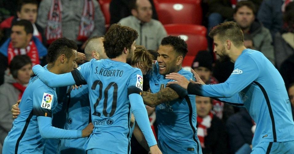 Jogadores do Barcelona comemoram gol de Munir contra o Athletic Bilbao pela Copa do Rei