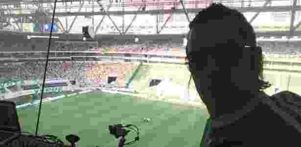 Marcos Costi é locutor do Allianz Parque desde o segundo jogo do Palmeiras no local - Acervo pessoal/Marcos Costi S.E.P