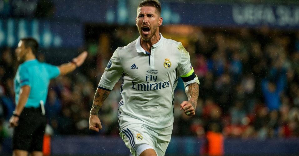 Sergio Ramos celebra gol nos acréscimos