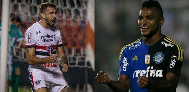 Fotomontagem com Pratto e Borja comemorando gol de São Paulo e Palmeiras