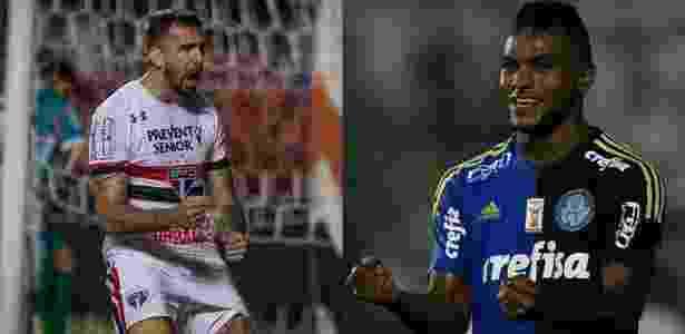 Fotomontagem com Pratto e Borja comemorando gol de São Paulo e Palmeiras - Fotomontagem: Ronny Santos/Folhapress e Agência Palmeiras