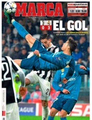 O espanhol Marca diz que gol de Cristiano Ronaldo entrou para história do futebol