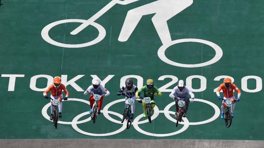 Renato Rezende, do Brasil, durante prova do BMX nas Olimpíadas  - REUTERS/Christian Hartmann