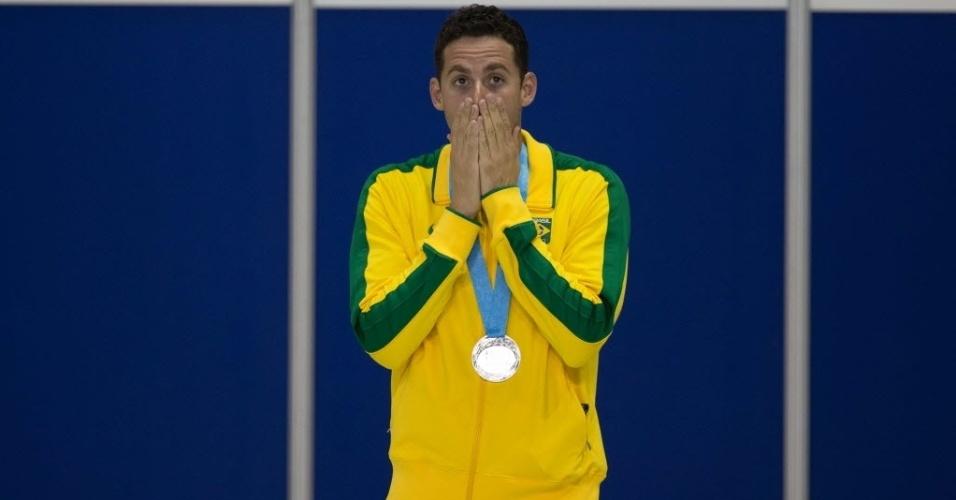 Thiago Pereira comemora medalha de prata dos 200m medley - sua 22ª na história dos Jogos Pan-Americanos
