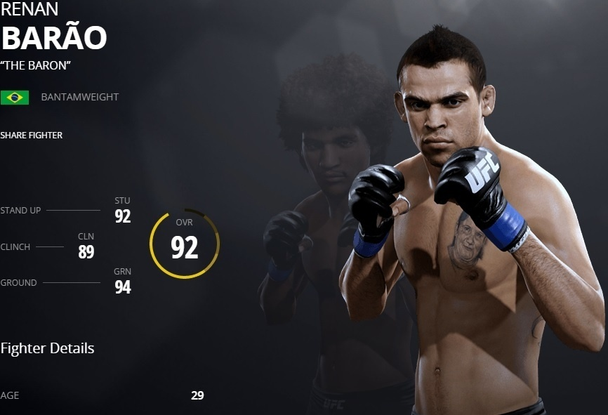 Renan Barão em versão virtual do UFC 2