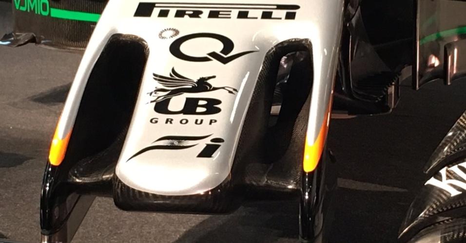 Detalhe do bico do novo carro da Force India para a temporada 2017