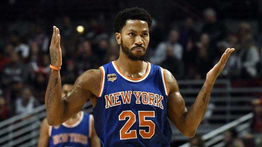 Derrick Rose em ação pelo New York Knicks na última temporada - David Banks/USA TODAY Sports