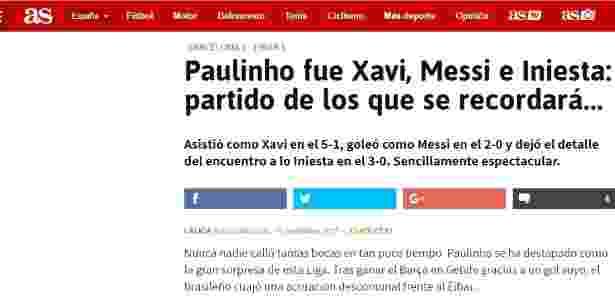 Jornal As também repercutiu a boa atuação de Paulinho contra o Eibar - reprodução/As - reprodução/As