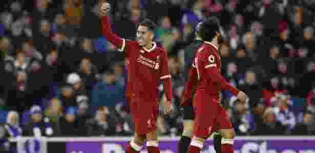 Roberto Firmino comemora gol pelo Liverpool - Dan Istitene/Getty Images