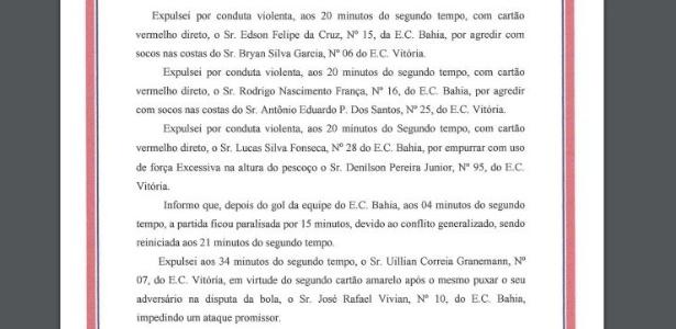 99d0078ae6c28 Súmula do Ba-Vi confirma triunfo por 3 a 0 do Bahia sobre o Vitória ...