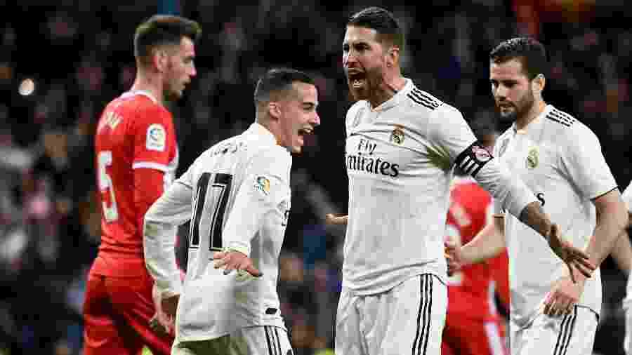 Sergio Ramos comemora gol do Real Madrid contra o Girona - JAVIER SORIANO / AFP