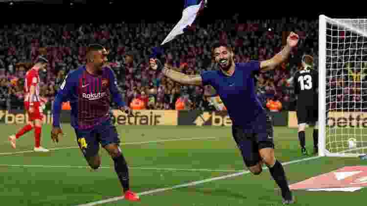 Suárez e Malcom comemoram gol - ALBERT GEA/REUTERS - ALBERT GEA/REUTERS