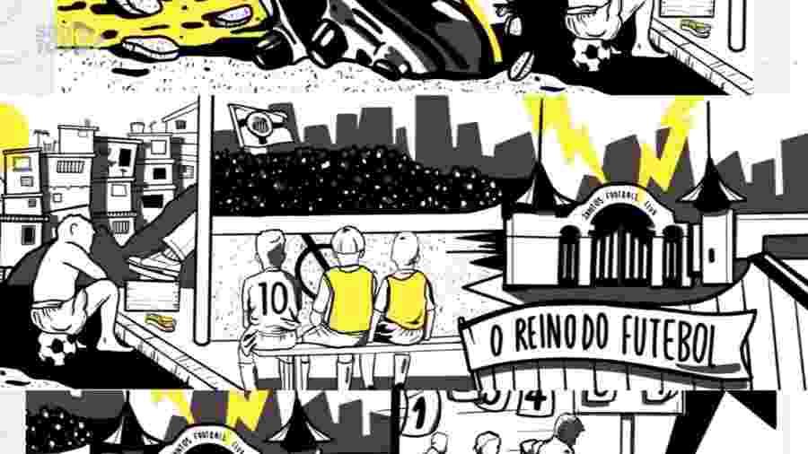Um dos projetos de revitalização para o muro do CT Rei Pelé, do Santos - Reprodução / Youtube / Santos TV