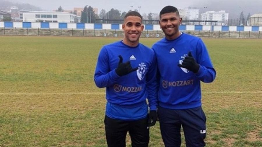 Yuri Aguiar e Talisson, atacante e lateral esquerdo brasileiros do KF Dardana Kamenice - Divulgação/DSFootball