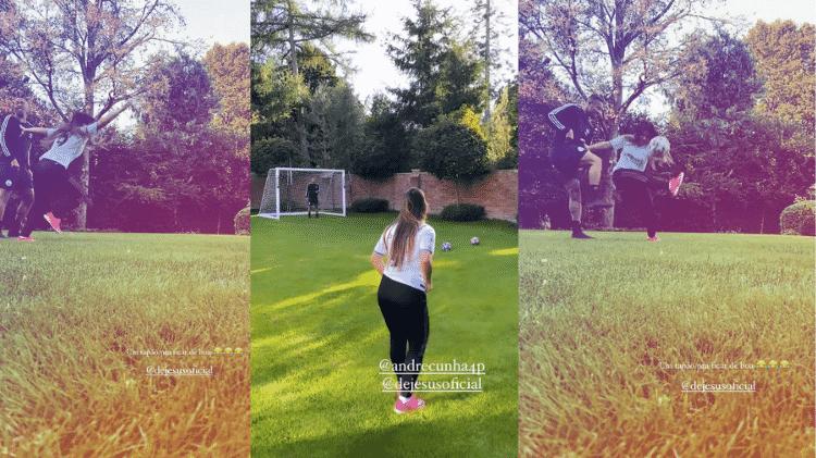 Gabriel Jesus joga bola com sua namorada, Raiane Lima - Instagram - Instagram
