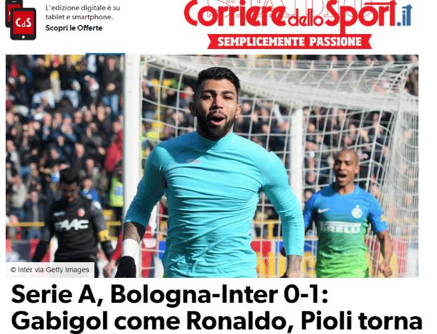 Gabigol foi comparado a Ronaldo por imprensa italiana - Reprodução