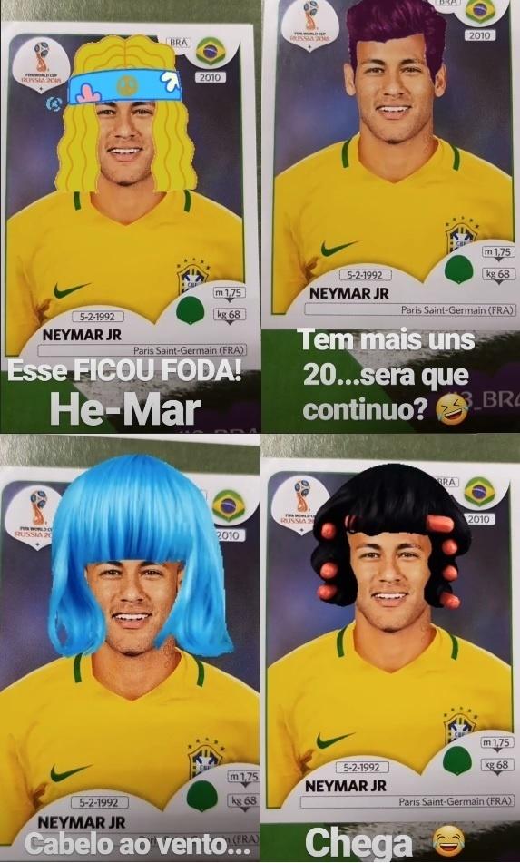 Felipe Andreoli brinca com visual de Neymar no álbum da Copa