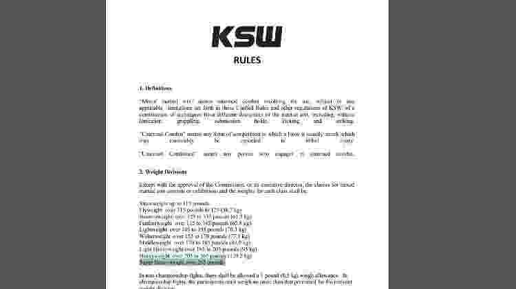Regras KSW - Reprodução - Reprodução