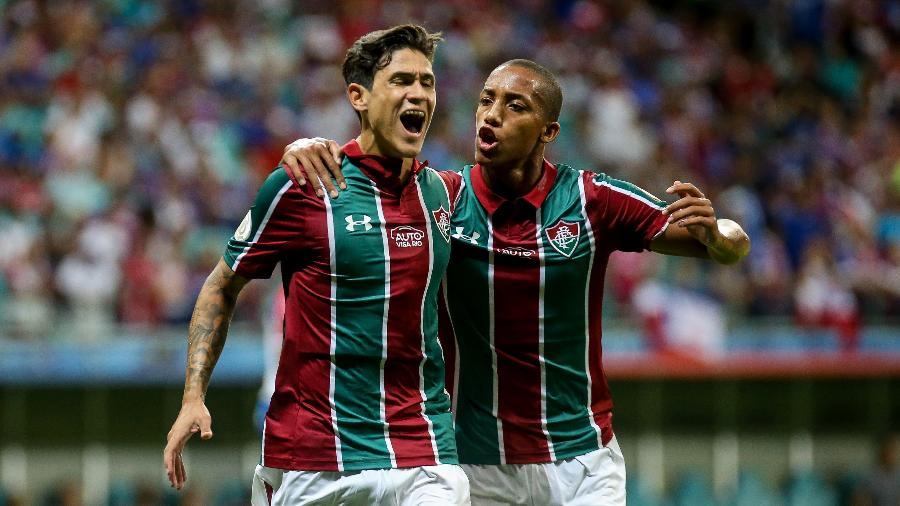 Pedro e João Pedro comemoram: dupla marcou 9 dos 21 gols do Flu no Brasileirão - Lucas Merçon/Fluminense FC