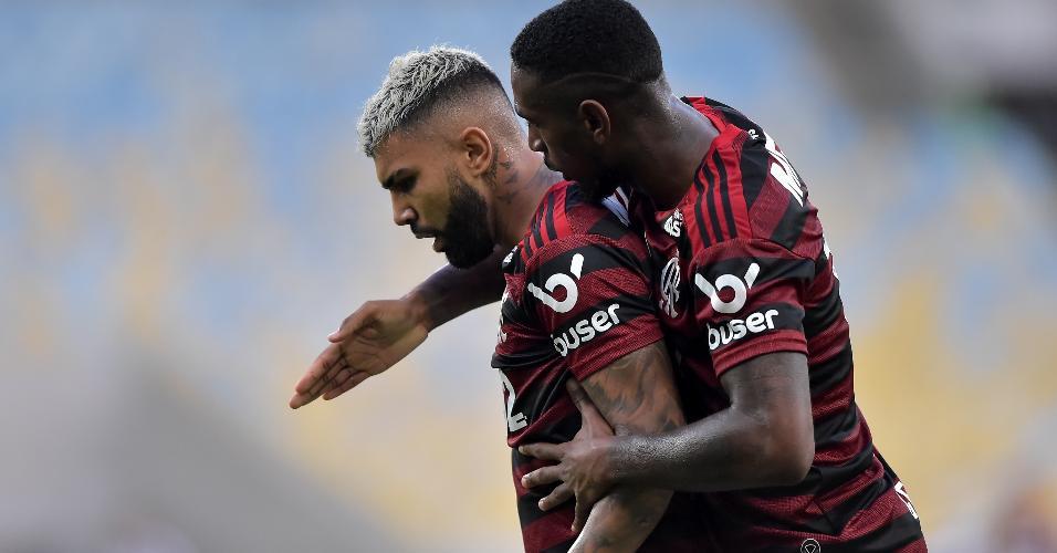 Gabigol comemora gol do Flamengo contra o Botafogo