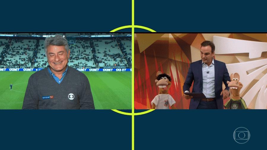 Fim de Corinthians x Palmeiras teve diálogo entre Cléber Machado e Tadeu Schimidt na Globo em SP - reprodução/TV Globo