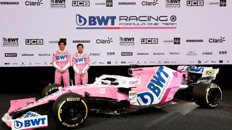 Racing Point lançou carro com pintura parecida com a do ano passado e manteve Perez e Stroll - Divulgação/Racing Point