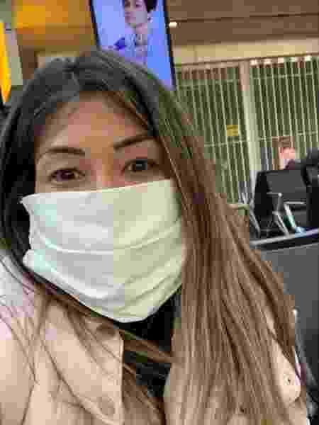 Valéria Kumizaki no aeroporto, voltando ao Brasil - Arquivo pessoal
