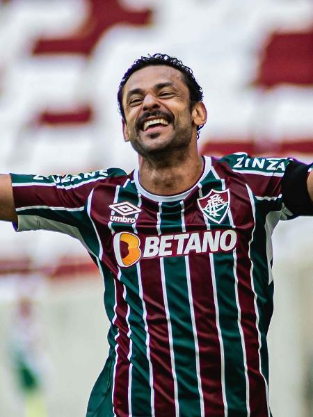 Fred comemora gol pelo Fluminense contra o Red Bull Bragantino, para se tornar o segundo maior artilheiro do Brasileiro - MAURICIO ALMEIDA/AM PRESS & IMAGES/ESTADÃO CONTEÚDO