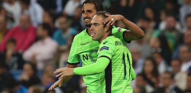 Bryan Ruiz e Bruno César comemoram gol do Sporting contra o Real Madrid