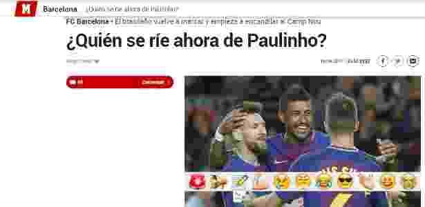 Jornal Marca, da Espanha, elogia Paulinho por atuação contra o Eibar - reprodução/Marca - reprodução/Marca