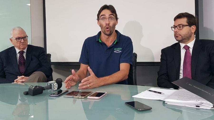 Giba concede entrevista coletiva para falar sobre a pensão dos filhos - Daiane Andrade/BandNews Curitiba
