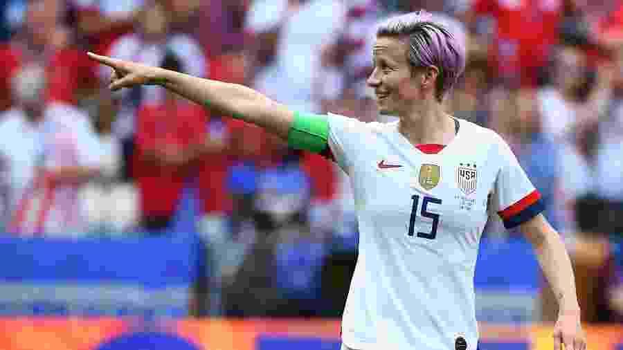 Rapinoe, dos Estados Unidos, comemora o gol de pênalti que abriu o placar na final da Copa do Mundo feminina - Franck Fife/AFP