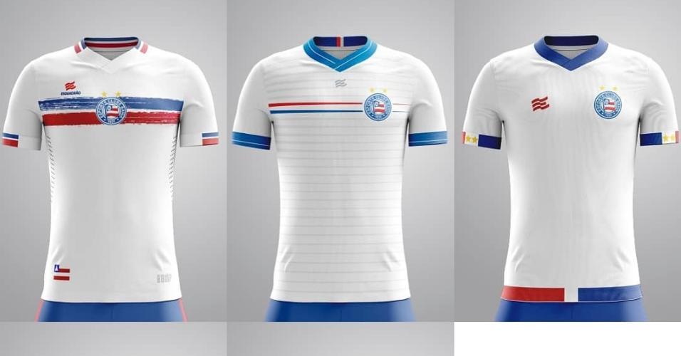 Modelos do uniforme principal do Bahia para os torcedores votarem