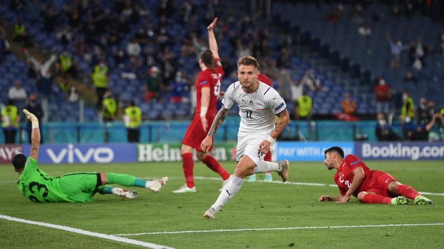 Ciro Immobile comemora gol da Itália contra a Turquia, pelo Grupo A da Eurocopa - Getty Images