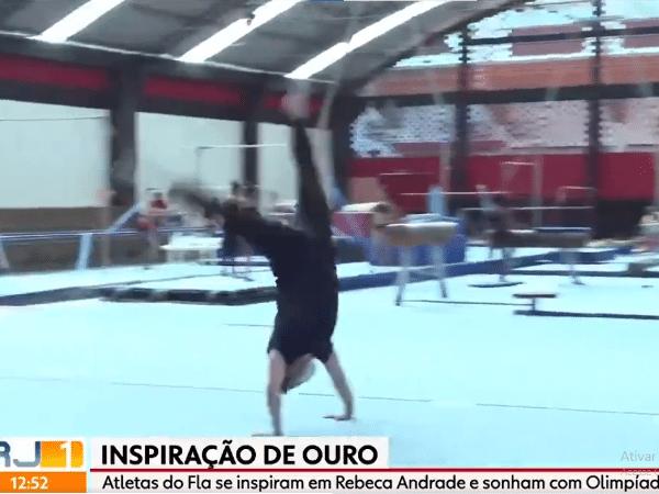 Repórter Diego Haidar fazendo acrobacias ao vivo