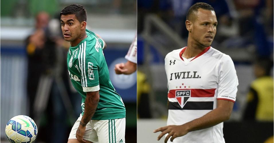 Dudu e Luis Fabiano em ação por Palmeiras e São Paulo, respectivamente