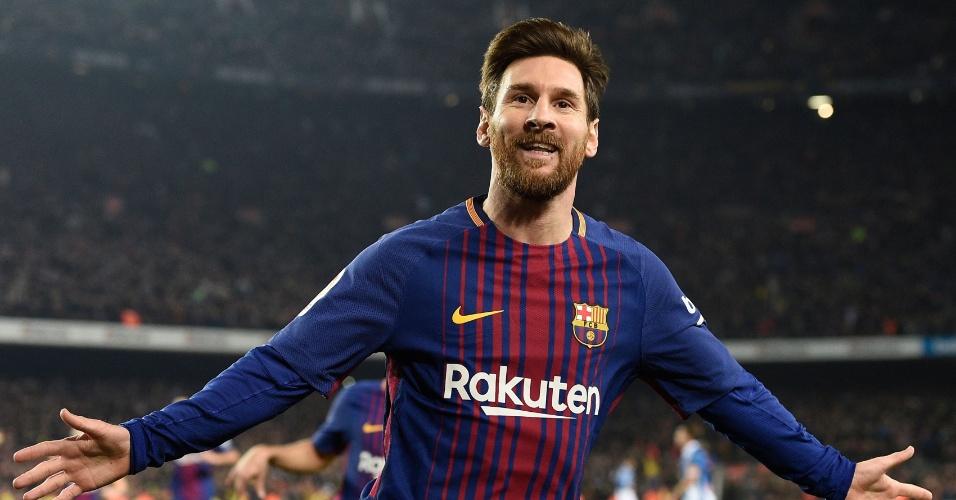 Messi comemora o seu gol diante o Espanyol