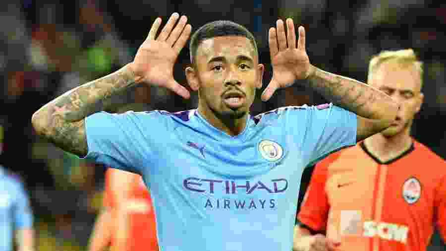 Gabriel Jesus defende o Manchester City - Sergei SUPINSKY / AFP