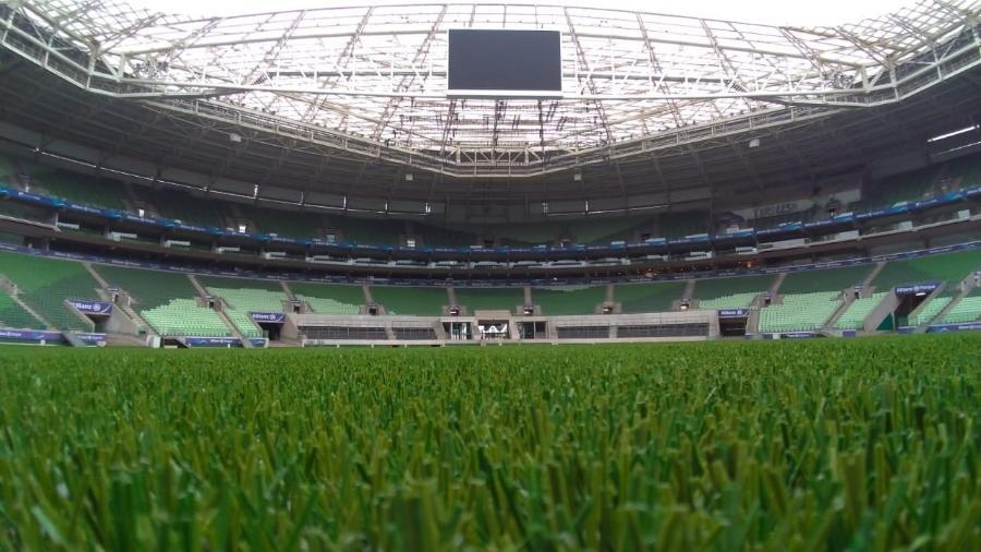 Allianz Parque, o estádio do Palmeiras, substituiu a grama natural pela sintética no começo de 2020 - Divulgação/Allianz Parque