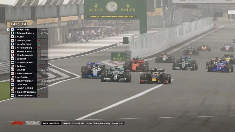 Largada do GP virtual do Bahrein, disputado como substituto de prova adiada pelo coronavírus - Reprodução